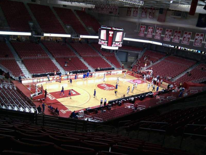 Seating view for Liacouras Center Section 206 Row p Seat 8