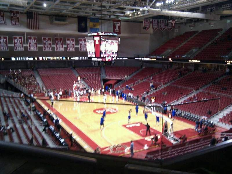 Seating view for Liacouras Center Section 210 Row d Seat 2
