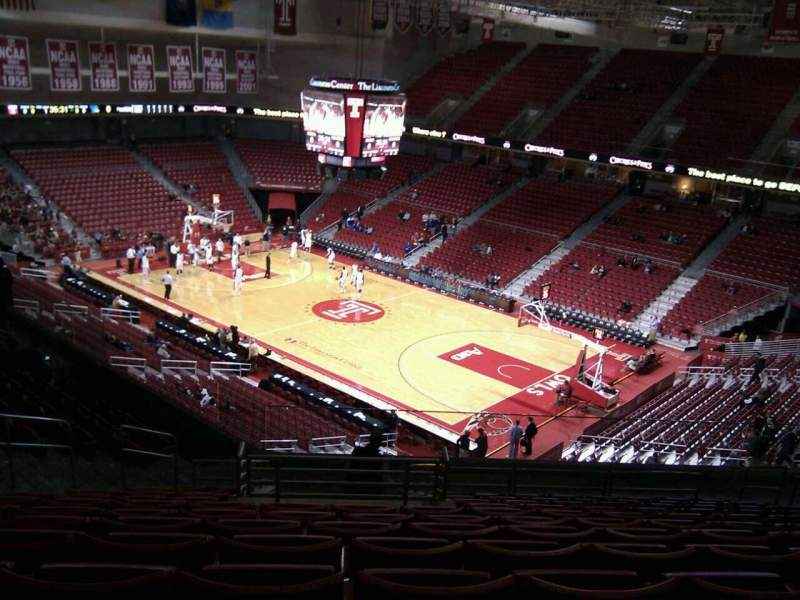 Seating view for Liacouras Center Section 210 Row p Seat 30