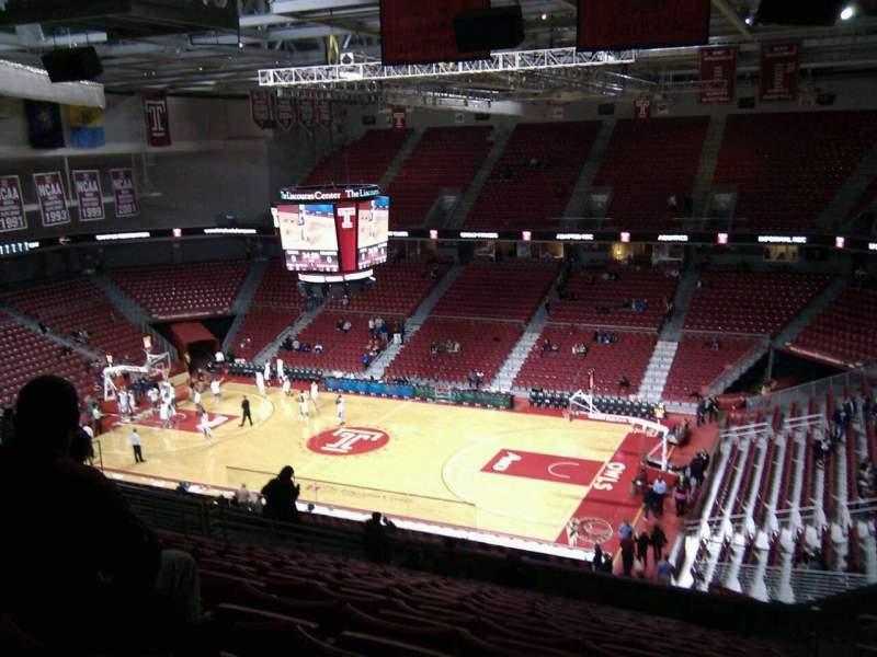 Seating view for Liacouras Center Section 211 Row q Seat 7