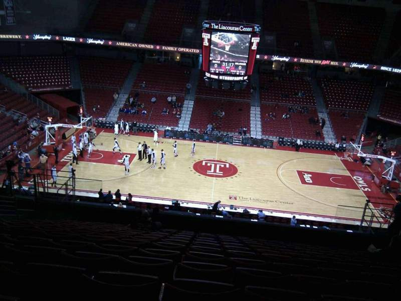 Seating view for Liacouras Center Section 213 Row n Seat 9