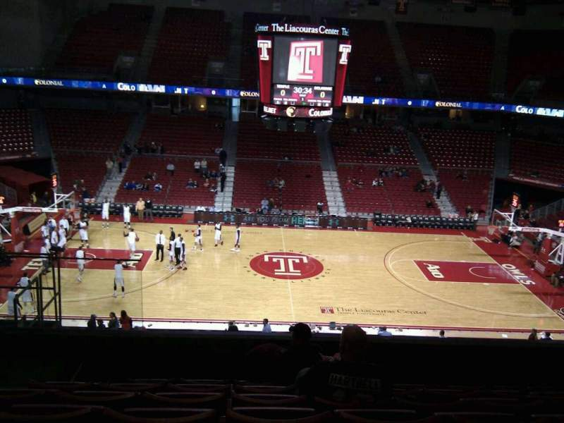 Seating view for Liacouras Center Section 213 Row g Seat 13