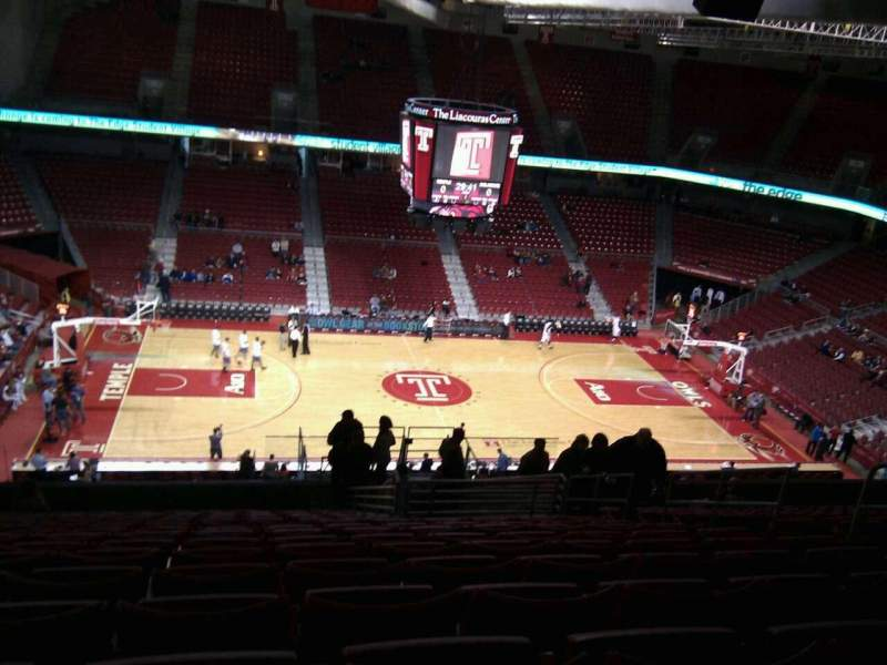 Seating view for Liacouras Center Section 214 Row r Seat 8
