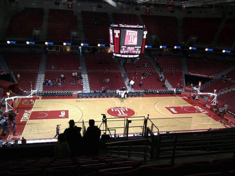 Seating view for Liacouras Center Section 214 Row k Seat 7