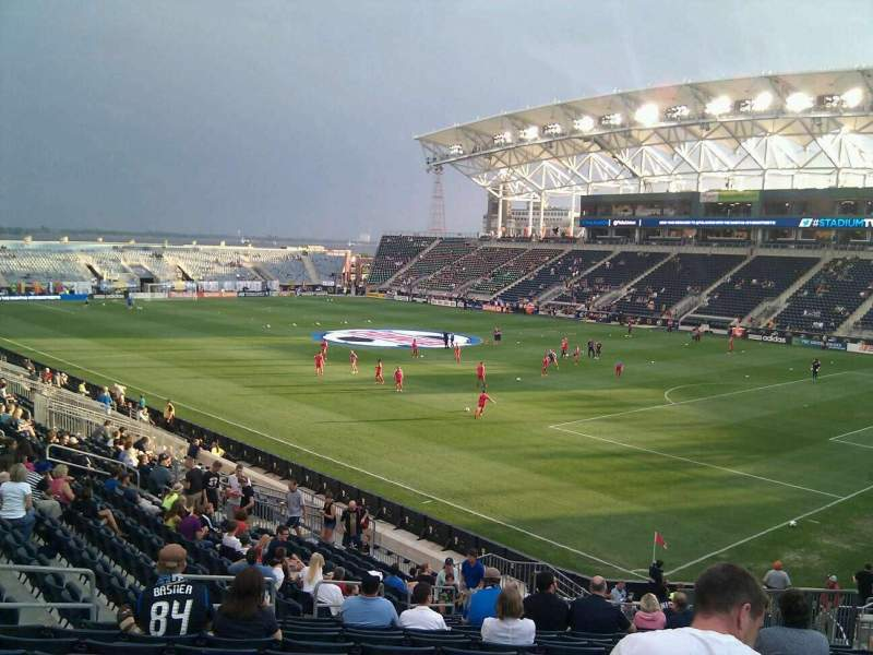Seating view for Talen Energy Stadium Section 121 Row aa Seat 21