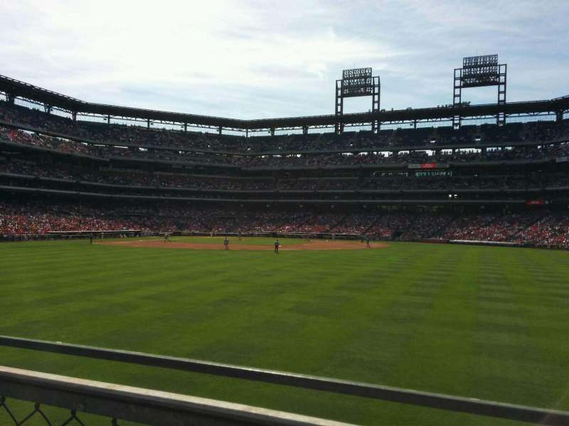 Seating view for Citizens Bank Park Section 102 Row 1 Seat 1