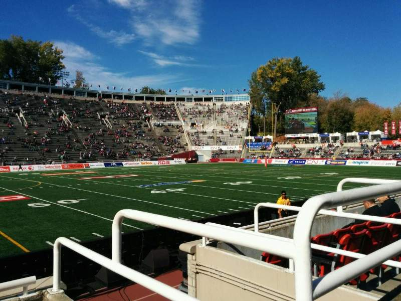 Seating view for Percival Molson Memorial Stadium Section v1 Row 1 Seat 15