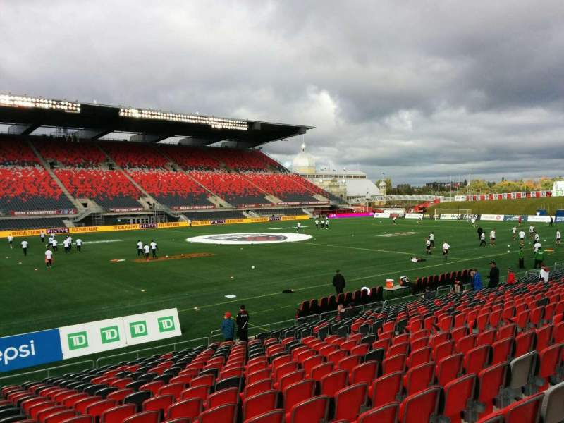 Seating view for TD Place Stadium Section V Row 19 Seat 16
