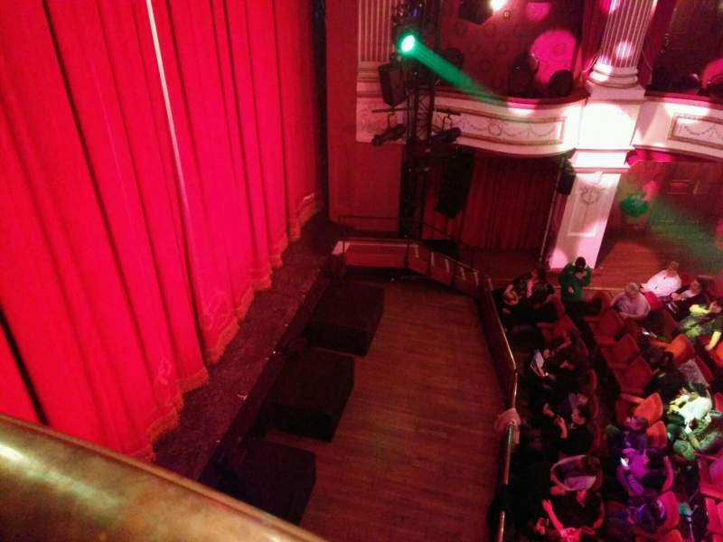 Seating view for New Theatre (Cardiff) Section box e Row 1 Seat 2
