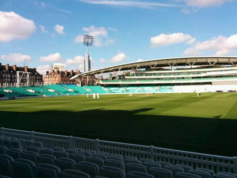 Seating view for Kia Oval Section Pavilion Terrace Row h Seat 37