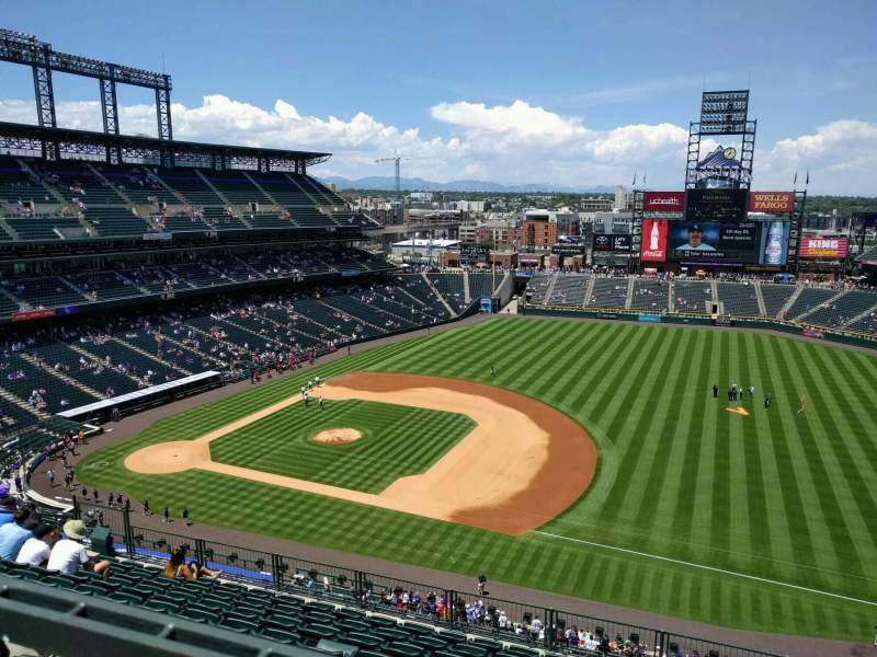 Seating view for Coors Field Section U319 Row 10 Seat 7