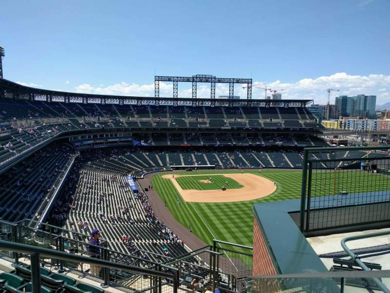 Seating view for Coors Field Section U310 Row 14 Seat 8