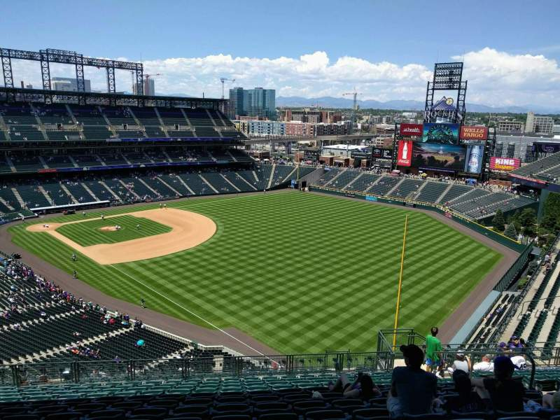 Seating view for Coors Field Section U312 Row 23 Seat 10
