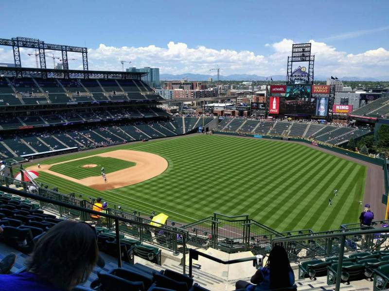 Seating view for Coors Field Section U314 Row 16 Seat 4