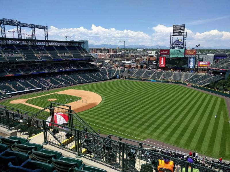 Seating view for Coors Field Section U315 Row 13 Seat 11