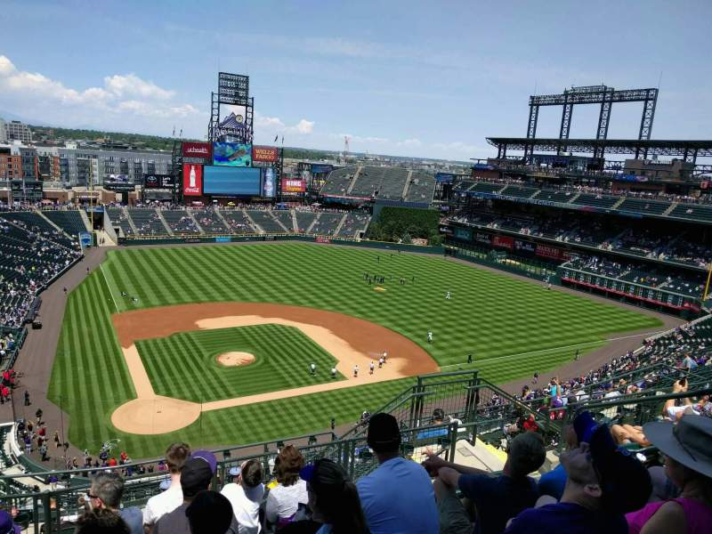 Seating view for Coors Field Section U327 Row 15 Seat 8