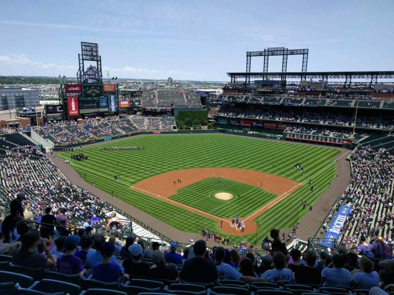 Seating view for Coors Field Section U332 Row 22 Seat 8
