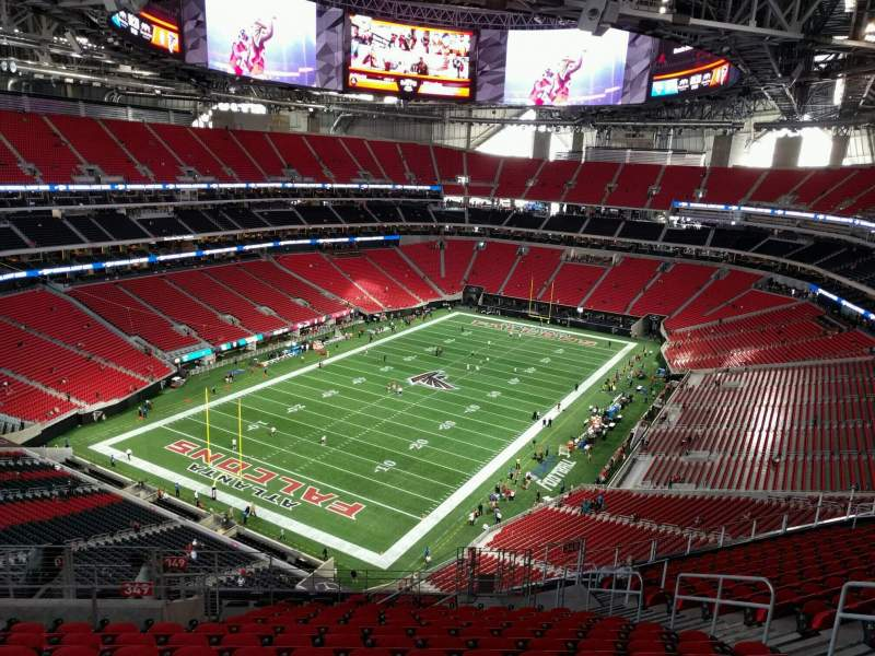 Mercedes benz stadium section 349 row 16 seat 10 for Hotel near mercedes benz stadium atlanta