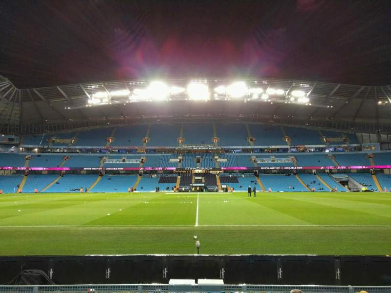 Seating view for Etihad Stadium (Manchester) Section 105 Row g Seat 109