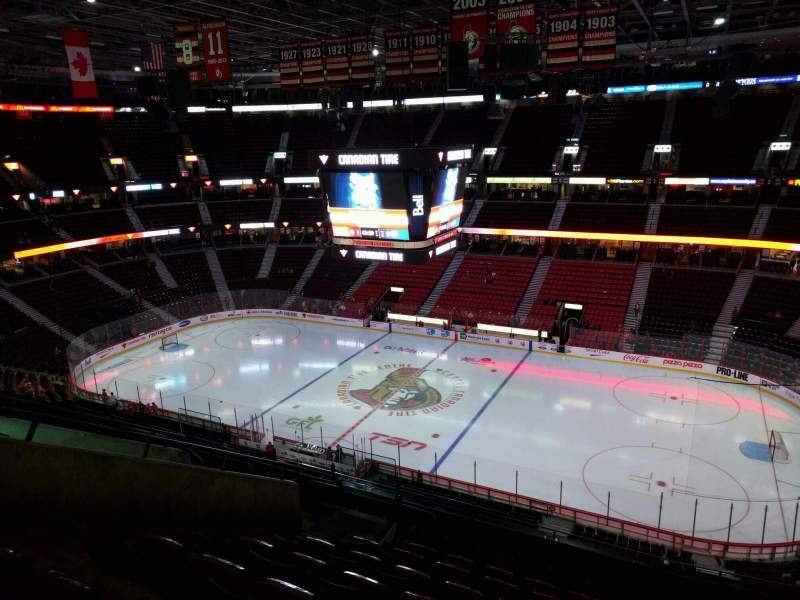 Seating view for Canadian Tire Centre Section 321 Row j Seat 14