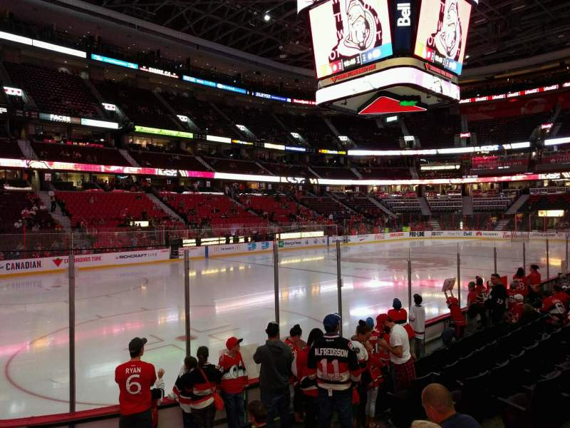 Seating view for Canadian Tire Centre Section 119 Row h Seat 6
