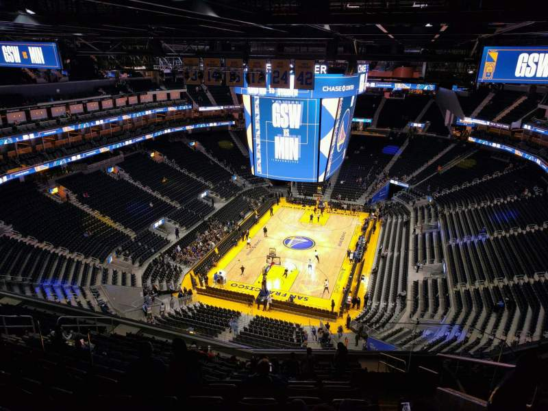 Seating view for Chase Center Section 212 Row 16 Seat 7
