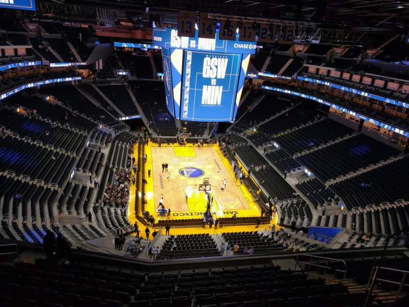 Seating view for Chase Center Section 214 Row 12 Seat 6