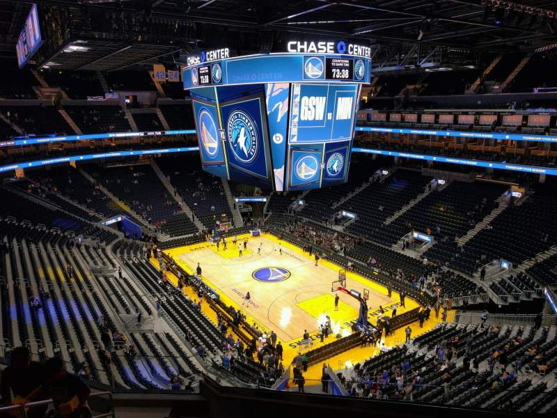 Seating view for Chase Center Section 201 Row 8 Seat 3