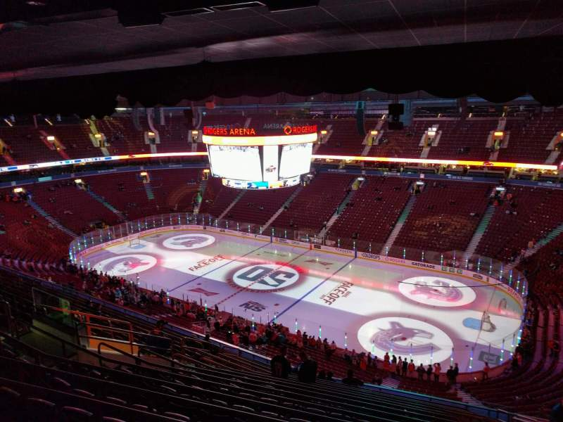 Seating view for Rogers Arena Section 320 Row 15 Seat 109