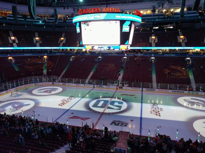Seating view for Rogers Arena Section 322 Row 1 Seat 107