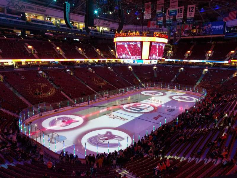 Seating view for Rogers Arena Section 327 Row 3 Seat 107