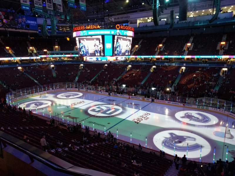 Seating view for Rogers Arena Section 305 Row 3 Seat 107