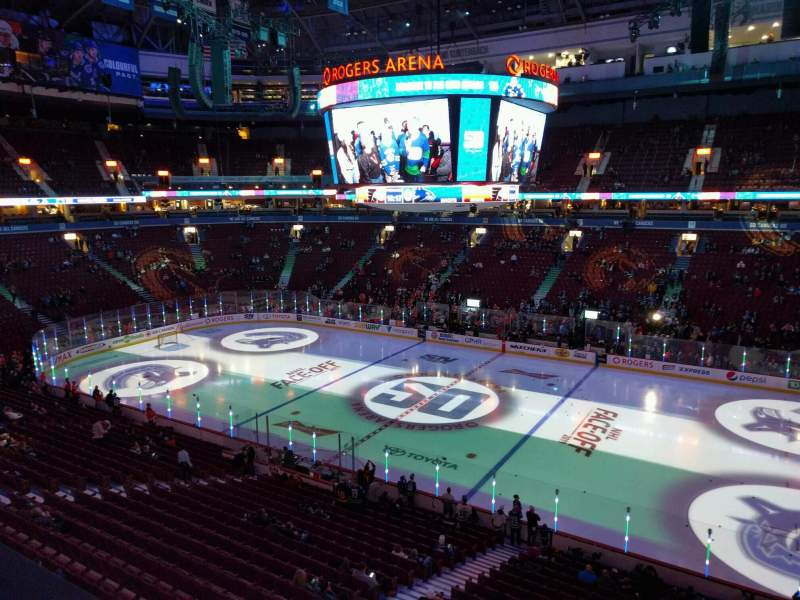 Seating view for Rogers Arena Section 306 Row 1 Seat 108