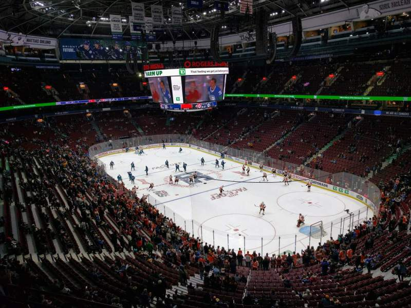 Seating view for Rogers Arena Section 318 Row 2 Seat 103