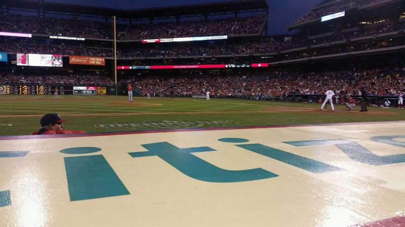 Seating view for Citizens Bank Park Section 130 Row 1 Seat 18