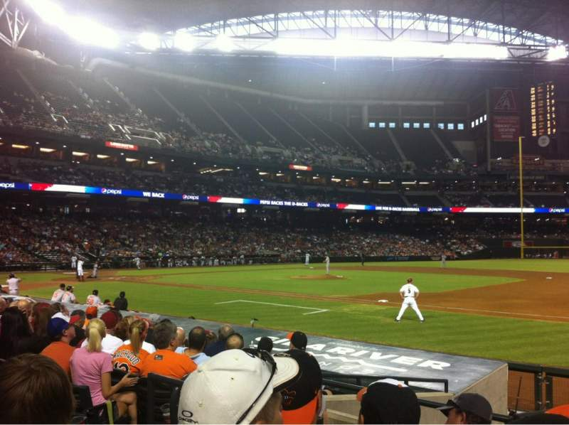 Seating view for Chase Field Section 114 Row 13 Seat 12