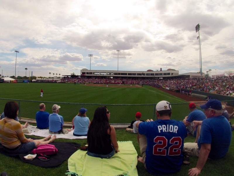 Seating view for Tempe Diablo Stadium Section Lawn Row Left Field