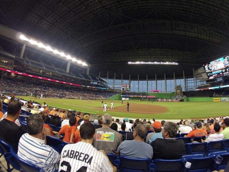 Seating view for Marlins Park Section 7 Row G Seat 16
