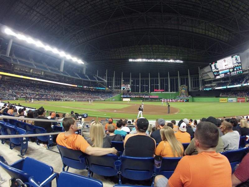 Seating view for Marlins Park Section 7 Row F Seat 20