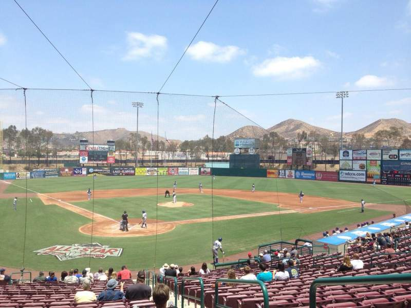 Seating view for Lake Elsinore Diamond Section 102 Row V Seat 2