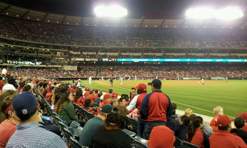 Seating view for Angel Stadium Section F130 Row c Seat 14