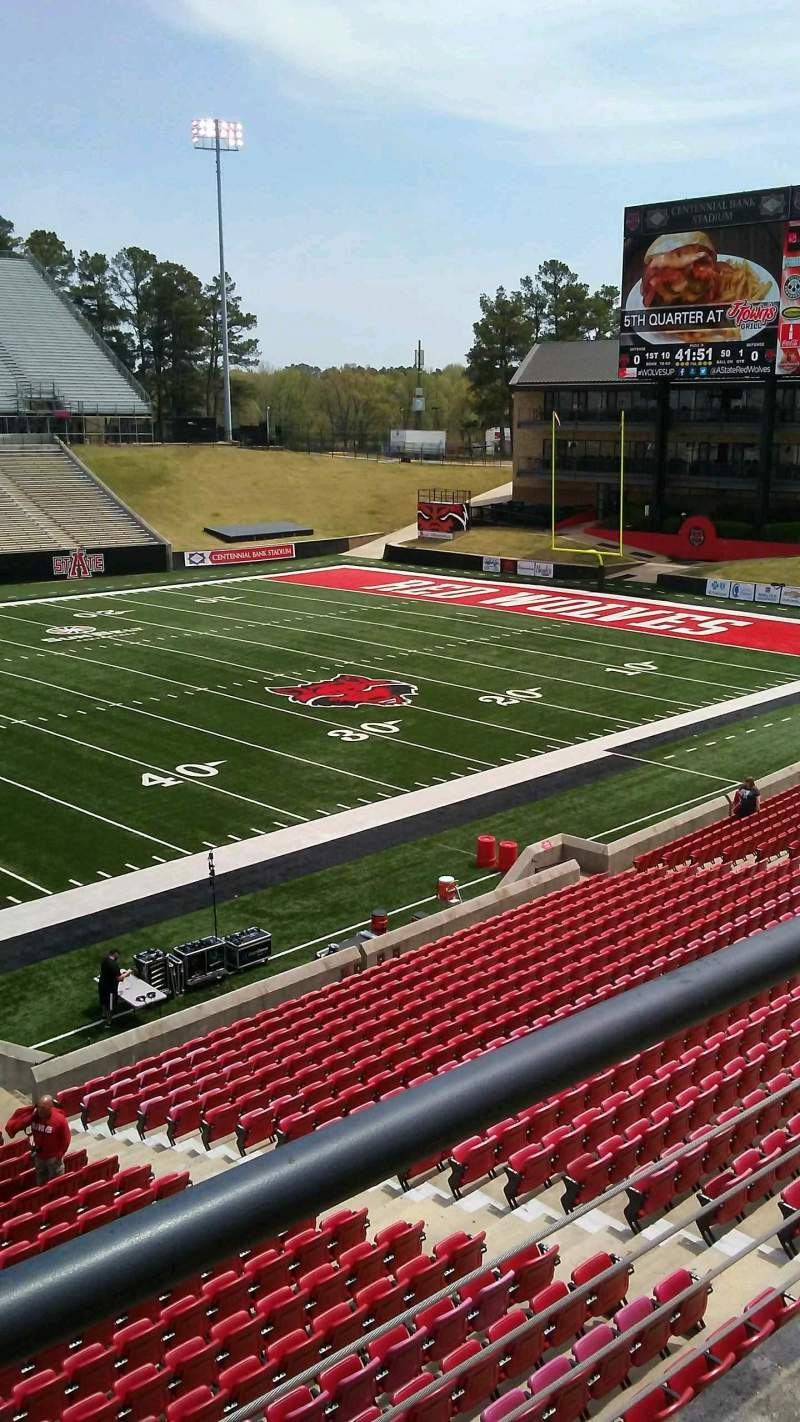 Centennial Bank Stadium, section: EE, row: 1, seat: 1
