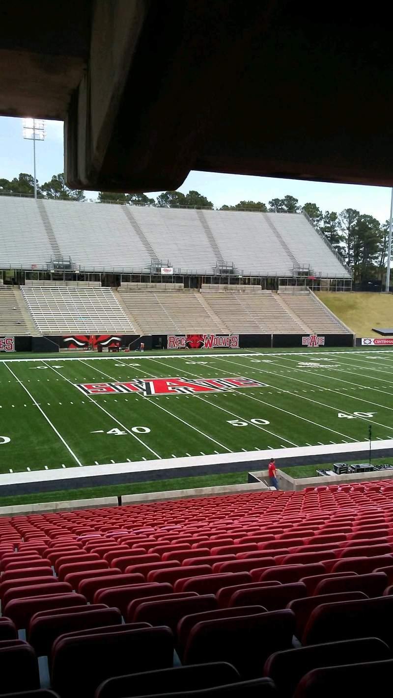 Centennial Bank Stadium, section: F, row: 29, seat: 22