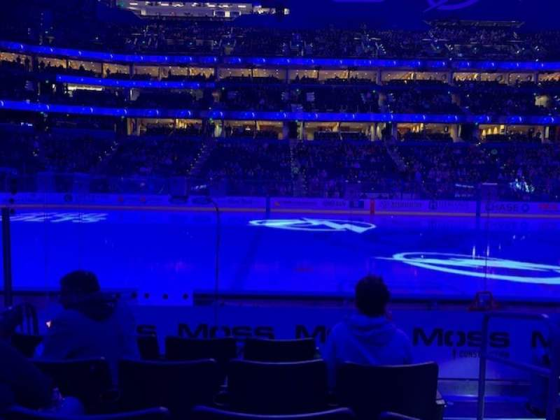 Seating view for Amalie Arena Section 102 Row G Seat 2