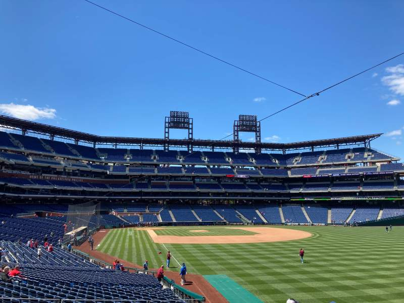 Seating view for Citizens Bank Park Section 107 Row 17 Seat 1