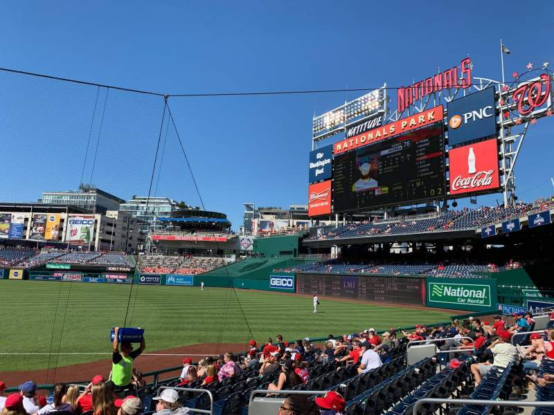 Seating view for Nationals Park Section 134 Row U Seat 11