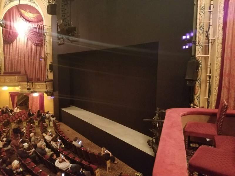 Seating view for Bernard B. Jacobs Theatre Section Mezzanine R Row A Seat 28