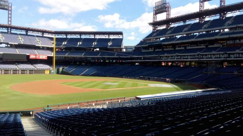 Seating view for Citizens Bank Park Section 134 Row 30 Seat 1