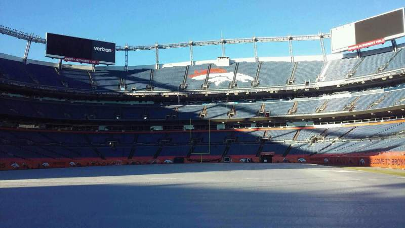 Seating view for Broncos Stadium at Mile High Section 129 Row 1