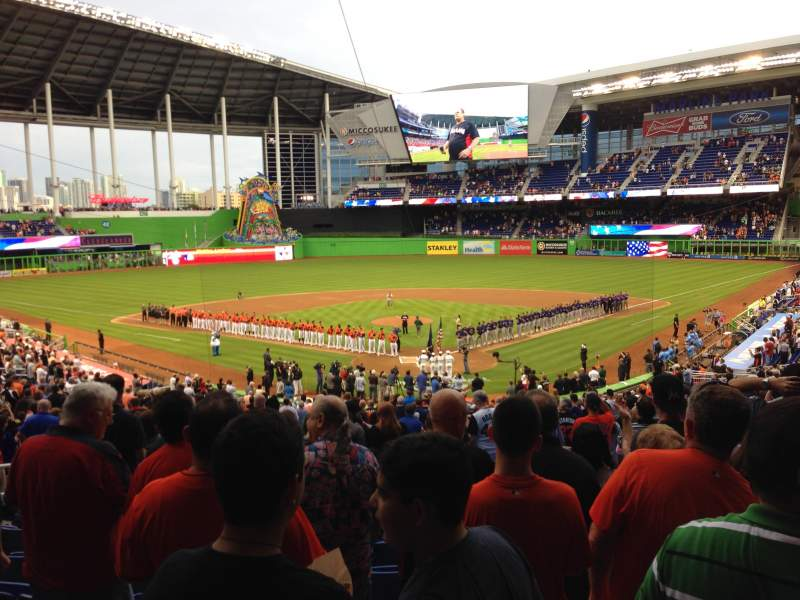 Seating view for Marlins Park Section 15 Row 21 Seat 9
